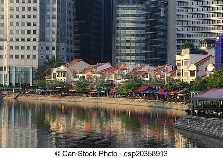 Stock Photography of Singapore River with the skyline of Raffles.