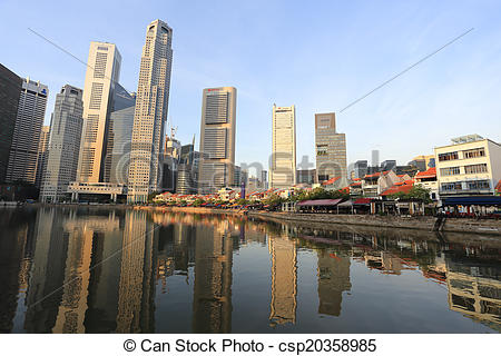 Pictures of Singapore River with the skyline of Raffles Place.