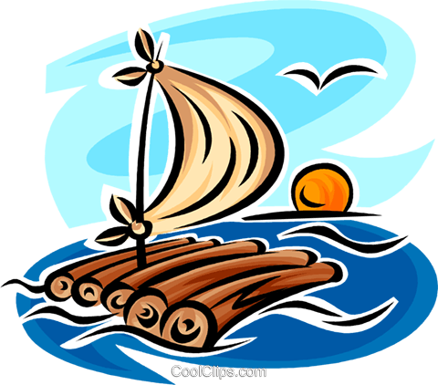 raft Royalty Free Vector Clip Art illustration.