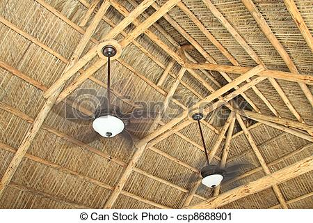 Stock Photography of Ceiling rafters of a hand build tiki hut with.