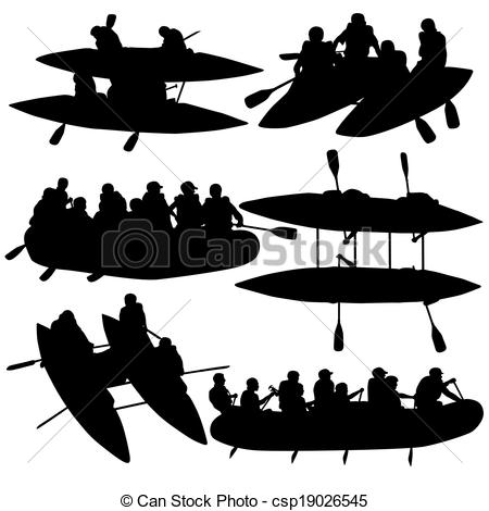 EPS Vector of Silhouette collection people rafters on boats.