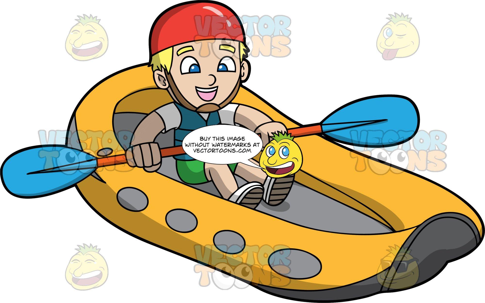 A Blonde Boy Having Fun River Rafting.