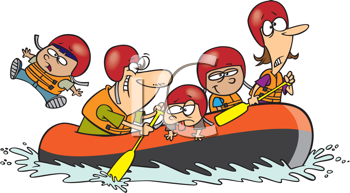 Royalty Free Clipart Image of a Family Rafting.