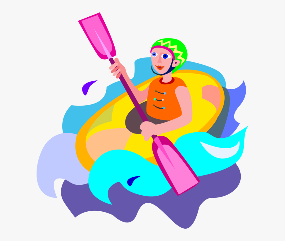 Vector Illustration Of Extreme Water Sports Whitewater.