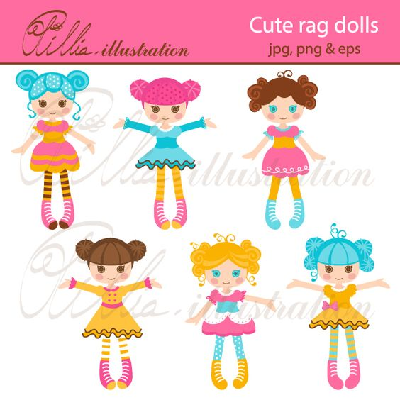 This super Cute rag dolls clipart comes with 6 adorable funky rag.