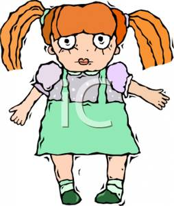 Colorful Cartoon of Ragdoll with Red Hair.