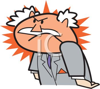 Cartoon Boss Red Faced with Rage.