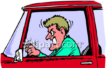 An Angry Man with Road Rage Clip Art Illustration.