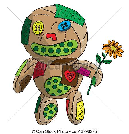 Vectors Illustration of Unhappy ragged doll. Vector illustration.