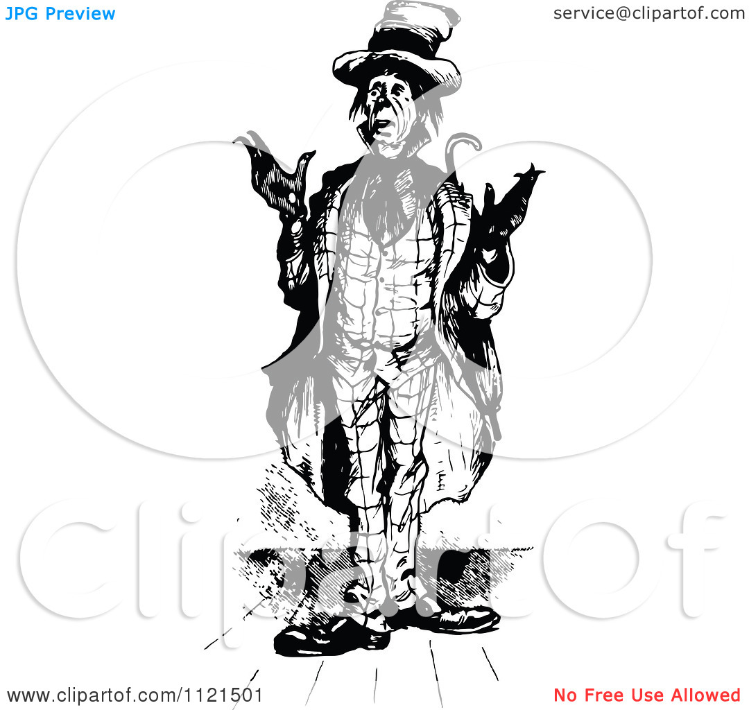 Clipart Of A Retro Vintage Black And White Confused Ragged Man.