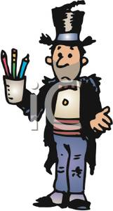 Hobo Wearing a Raggedy Suit and Top Hat Holding a Cup of Pencils.