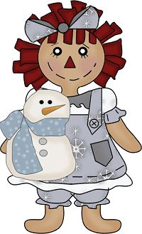 WINTER COUNTRY RAGGEDY DOLL CLIP ART.