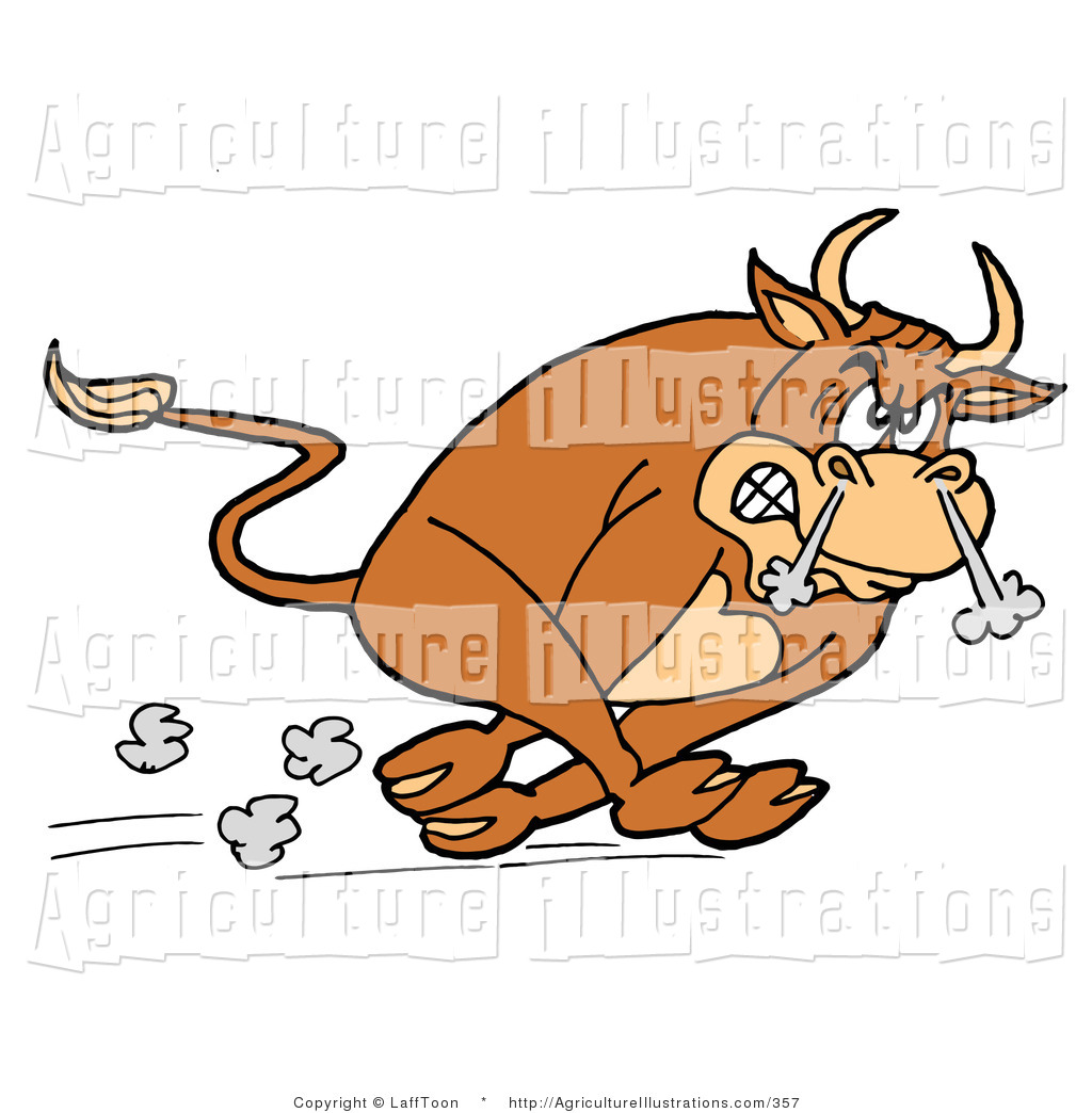 Agriculture Clipart of an Angry Raging Brown Charging Bull Running.