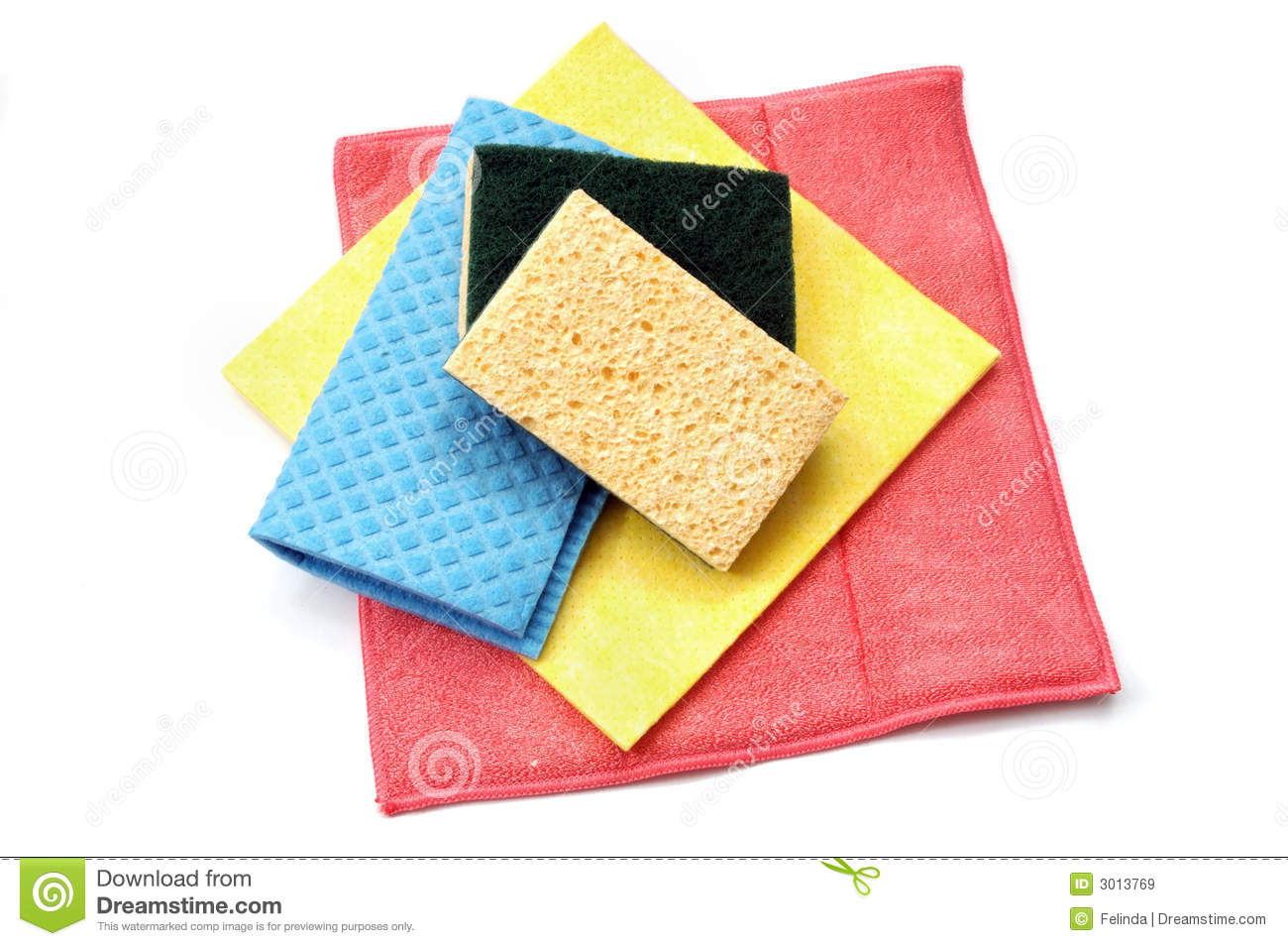 Cleaning Rags And Sponges Royalty Free Stock Images.