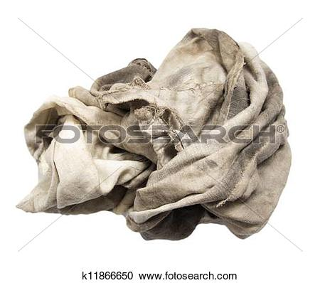 Pictures of dirty rag on a white background k11957808.