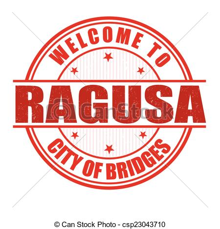 Vector Clip Art of Welcome to Ragusa stamp.