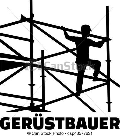 Vektoren von deutsch, scaffolder, Rahmen, arbeit, titel.