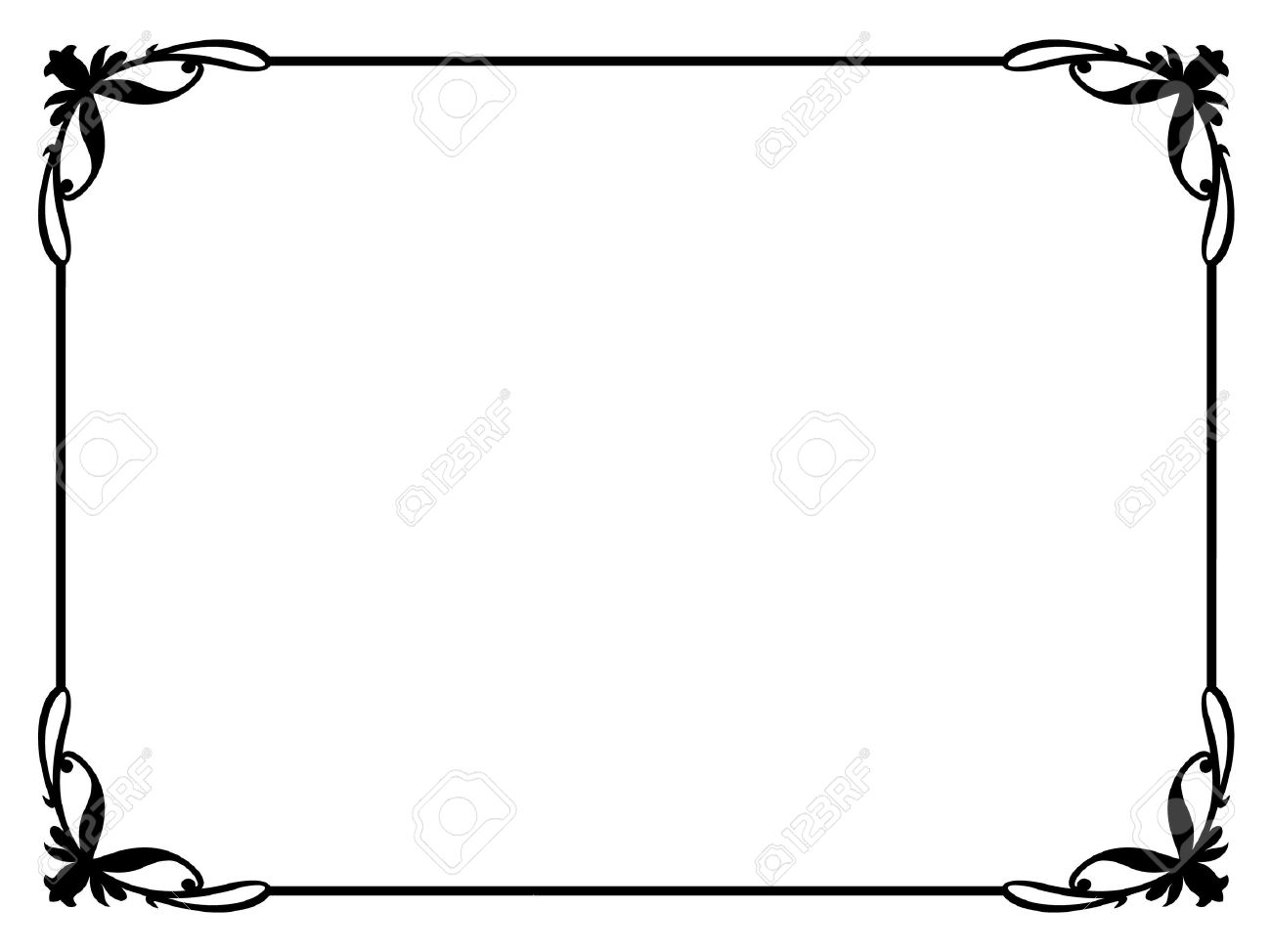 Simple Calligraphy Ornamental Decorative Frame Pattern Royalty.