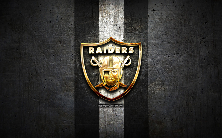 Download wallpapers Oakland Raiders, golden logo, NFL, black.