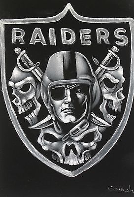 Fantastic *Oakland Raiders* Skull Logo Oil Painting on Black.