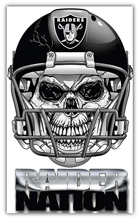 Oakland Raiders NFL Skull Car Bumper Sticker Decal 3\'\' X 5\'\'.