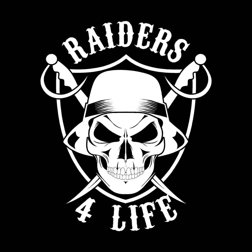 Cholo Skull & Shield Raiders 4 Life Decal/Window Sticker.