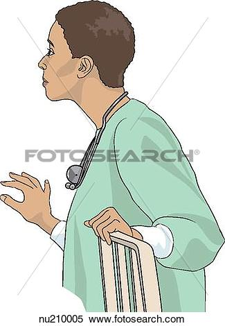 Stock Illustration of Nurse shown from waist up holding rail of.