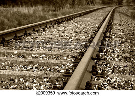 Stock Photograph of old rail bed and rail tracks k2009359.