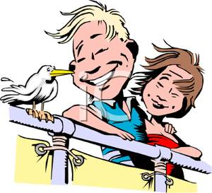 Colorful Cartoon of a Couple on a Ship Watching a Bird Sitting on.