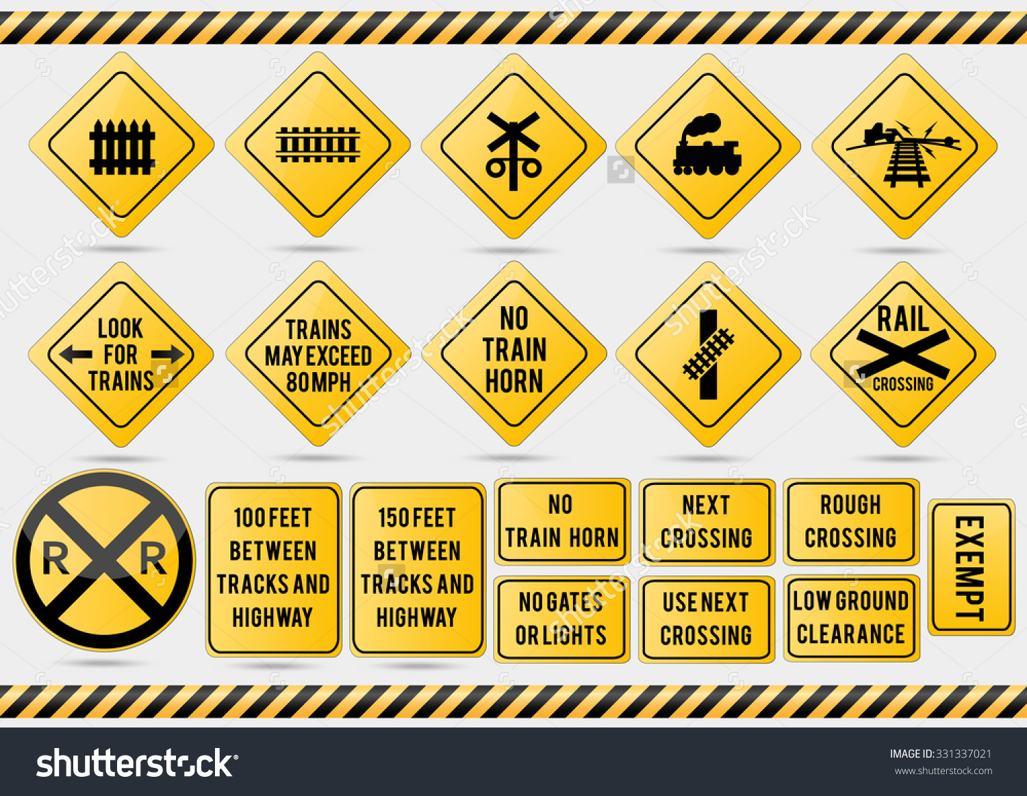American Traffic Signs Railroad Stock Vector 331337021.