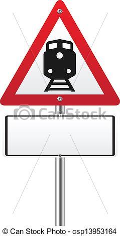 Clip Art Vector of Railroad level crossing traffic sign.
