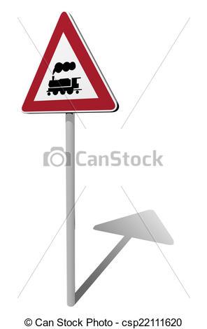 Clip Art of traffic sign rail crossing 3d illustration csp22111620.