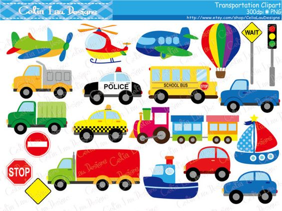 Transportation Clipart ,Car, Taxi, School Bus, Police Car, Truck.