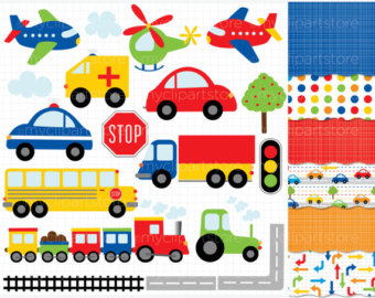 Red and Navy Trains Clipart.