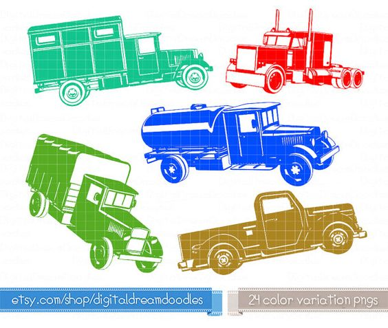 Truck Clipart Set, Trucks Clip Art, Classic Truck Graphic, Old.