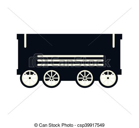 EPS Vector of cargo wagon train rail vehicle transport silhouette.