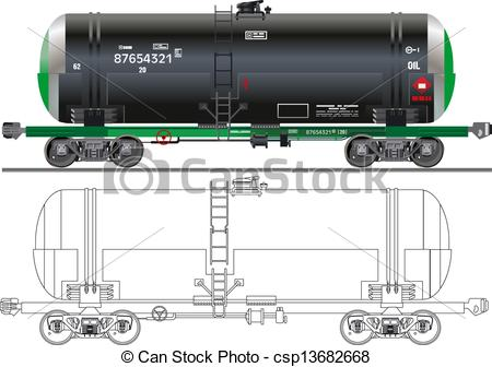 Clip Art Vector of Oil / gasoline tanker car.