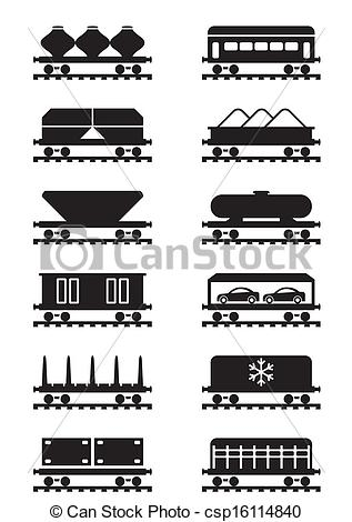 EPS Vector of Different types of railway wagons.