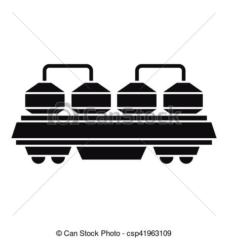 Vector Clipart of Rail wagon for cement icon, simple style.