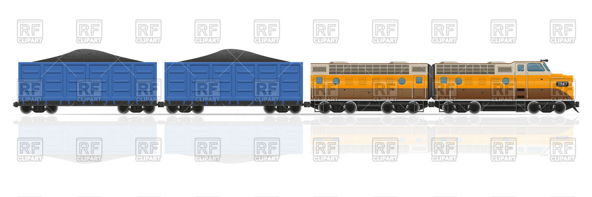 Railway train with locomotive and coal wagons Vector Image #103473.