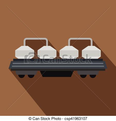 Vector Clipart of Rail wagon for cement icon, flat style.