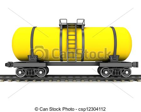 Clipart of Yellow railroad tank wagon on a white background.