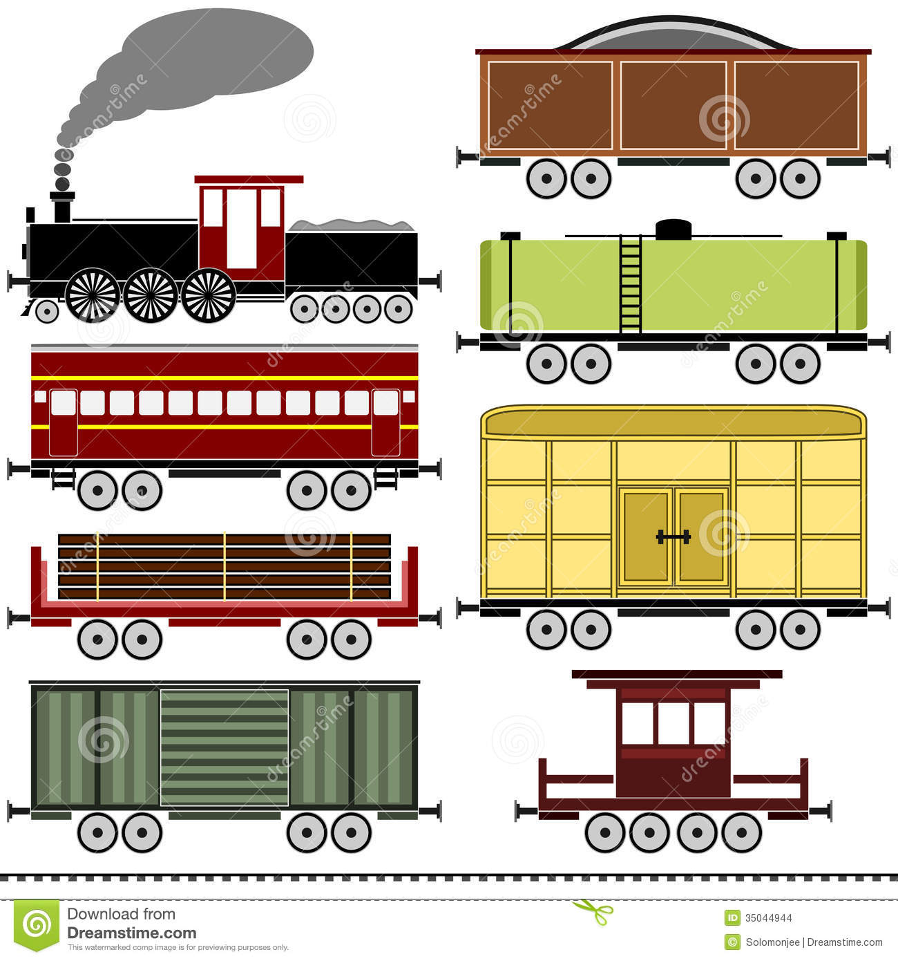 Set Of Train With Freight Wagons. Stock Vector.