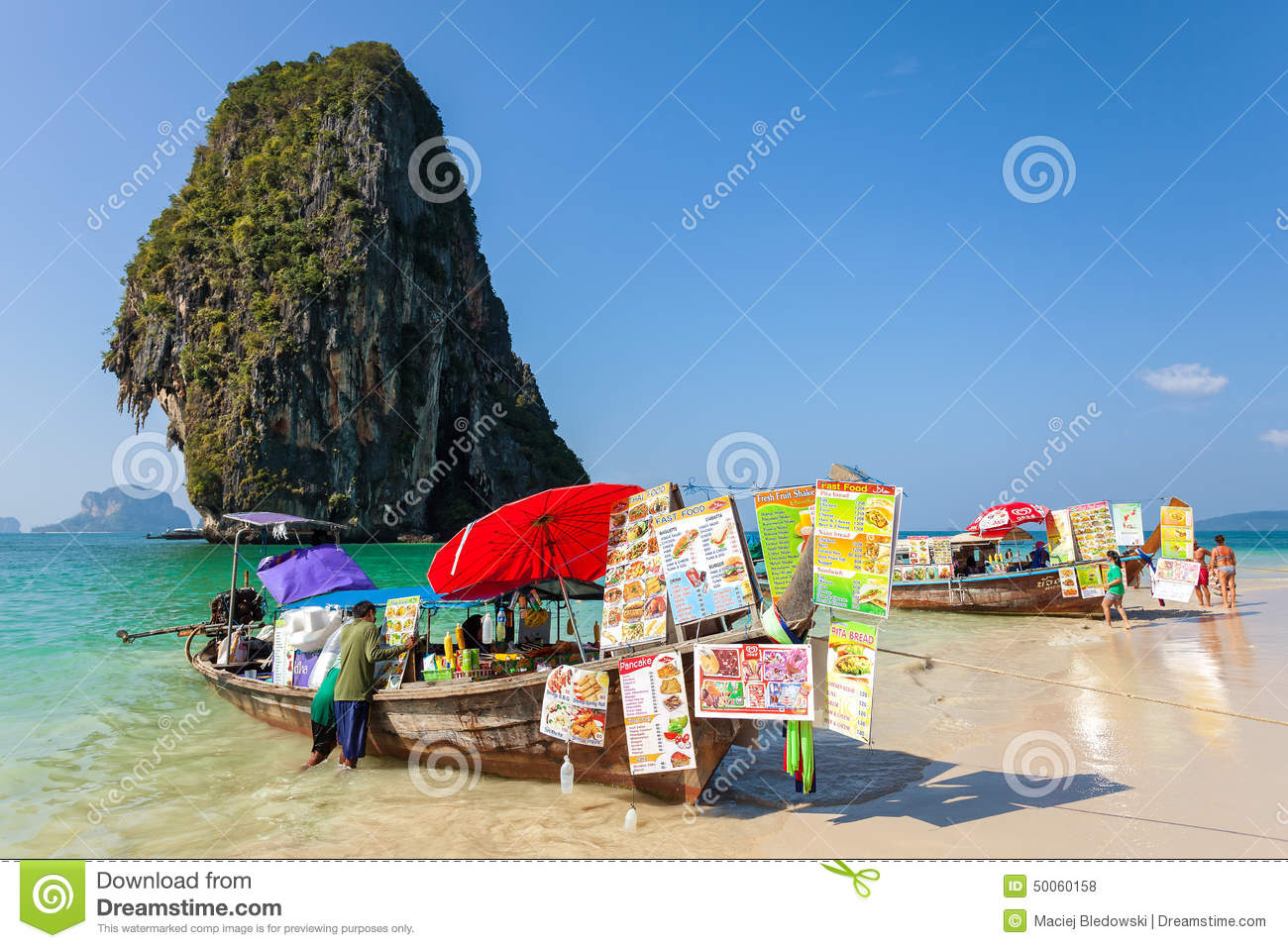 Boat Food Stalls On Railay Beach. Editorial Stock Photo.