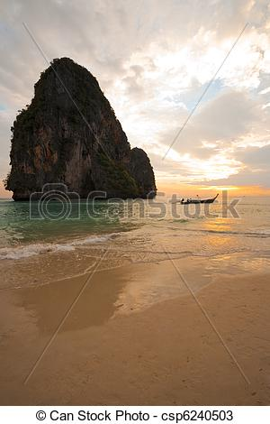 Stock Photos of Sunset Boat Railay Beach Thailand Vertical.