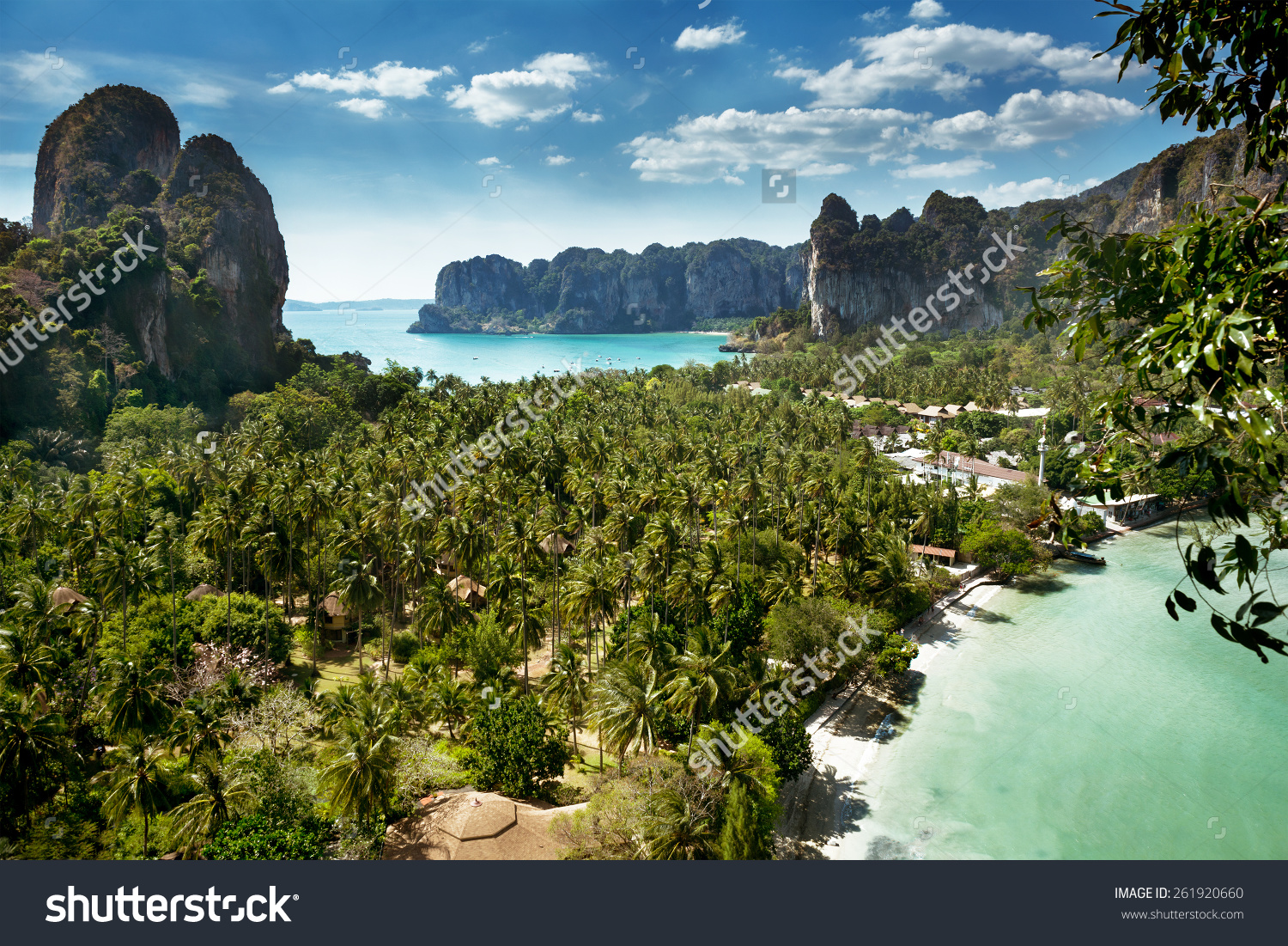 Aerial Panoramic View Cliff On Railay Stock Photo 261920660.