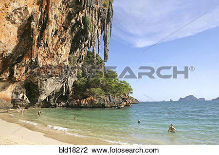 Stock Photo of Hat Phra Nang beach cliffs and the Princess Cave.