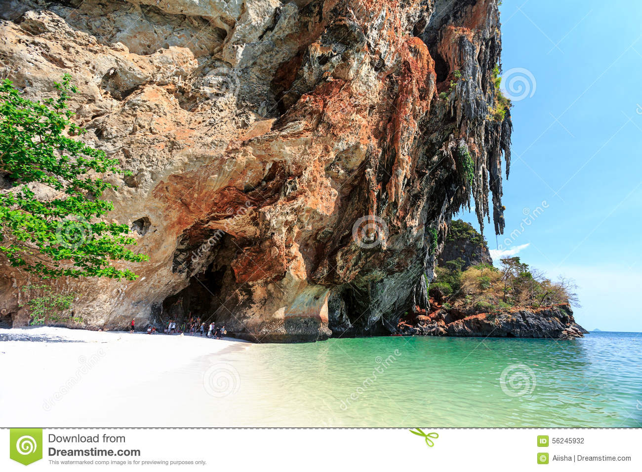 Cave On Railay Beach Stock Photo.