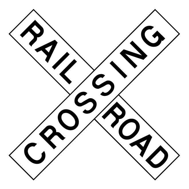 Railroad crossing vector road sign.