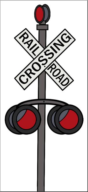 Clip Art: Railroad Crossing Sign Color I abcteach.com.